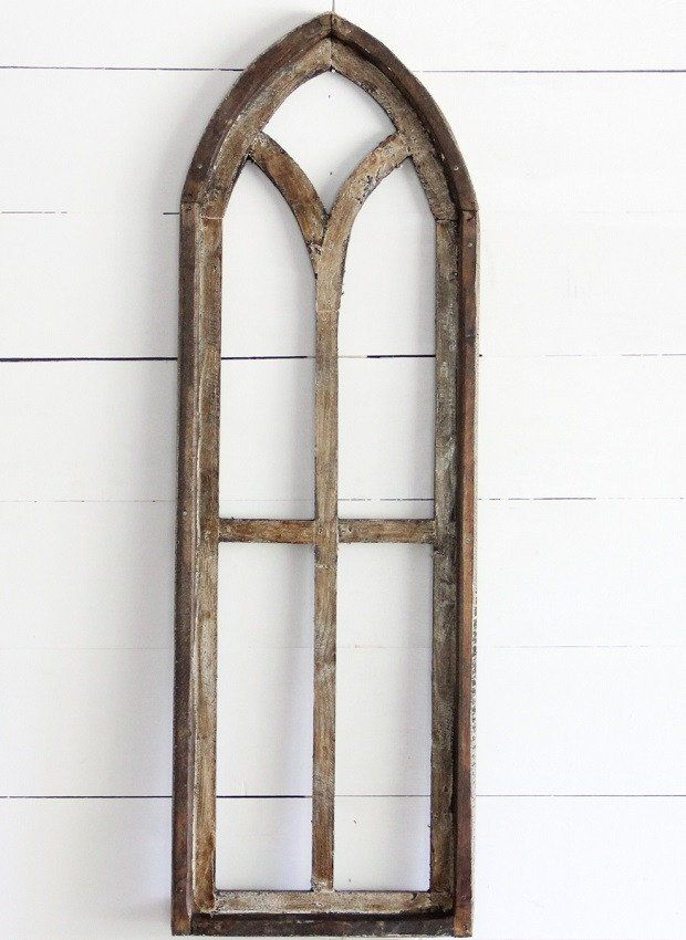 Tall Arched Wooden Window Frame Panel Wooden Window Frames Wooden Windows Window Frame Decor
