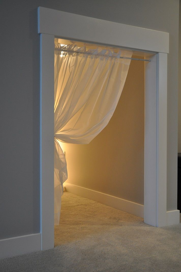 "Under the stairs play nook - love the curtain idea so the kids can't get ""locked in"" the closet ;)"