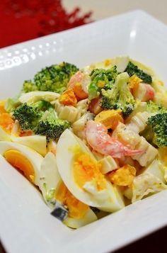 ◆エビとブロッコリーの玉子サラダ◆ デパ地下で売っているサラダを再現(^^)v おもてなしにぴったりのきれいなサラダです