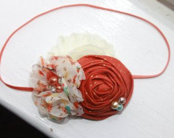 Orange rosette headband with lace and by LaurenAshlenBoutique