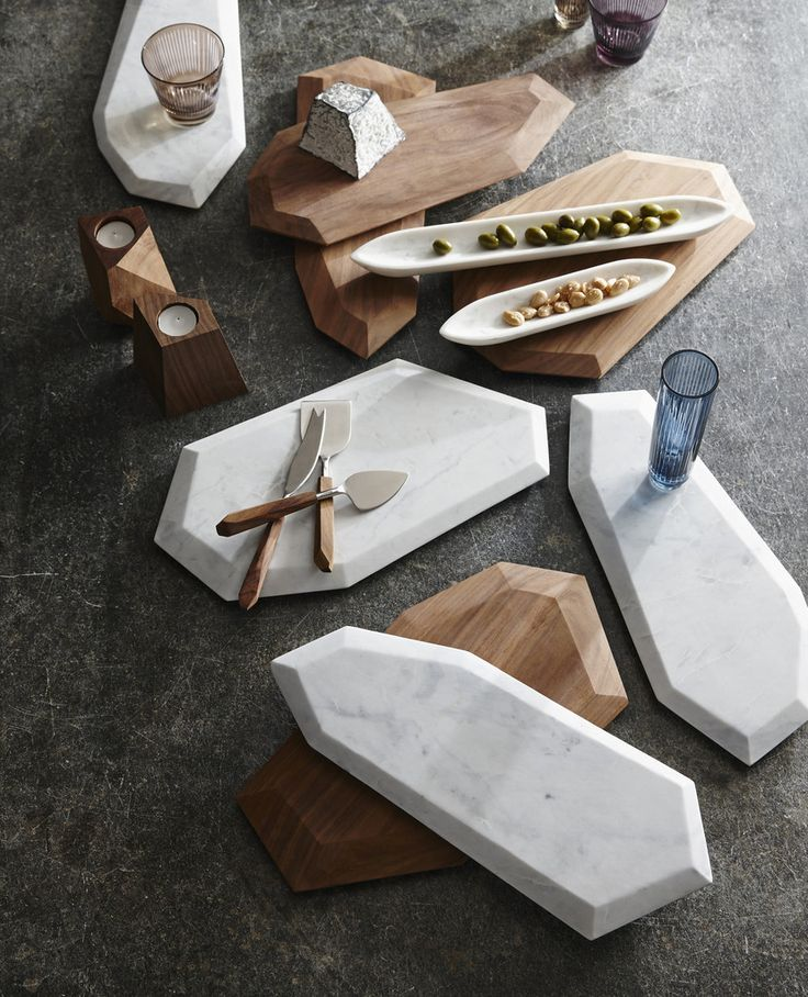 Faceted Marble + Rosewood Serving Pieces