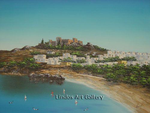 50x60 cm : Acropolis Lindos Beach and Blue Sky Oil Painting