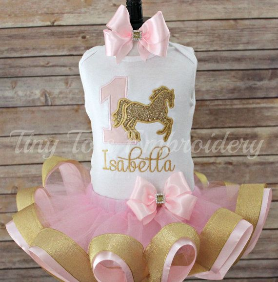 Pink and Gold Cowgirl Horse Birthday Outfit  by TinyTotsEmbroidery