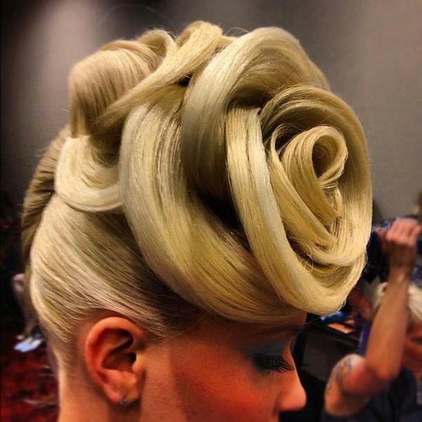 Blonde Avant Garde Hair-up Rose effect