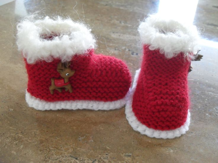 Knitted Baby Santa/Christmas Booties/Boots  Now Available From My Etsy Store Knitting Pattern Also Available.