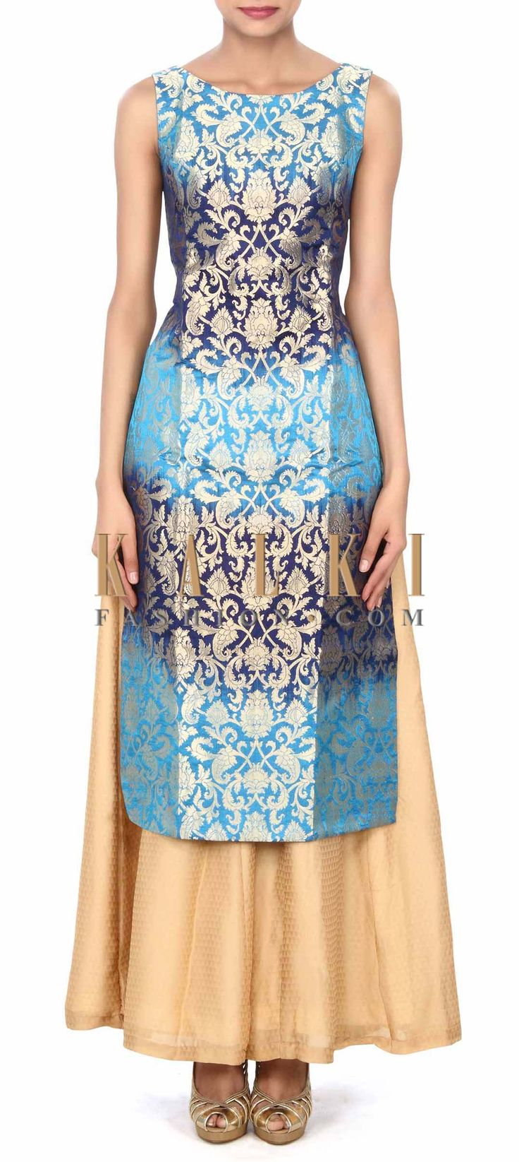 Buy this Royal and navy blue straight suit with palazzo pant only on Kalki