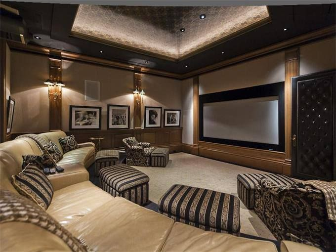 Home Theatre Room - I like these round connected couches over individual seats