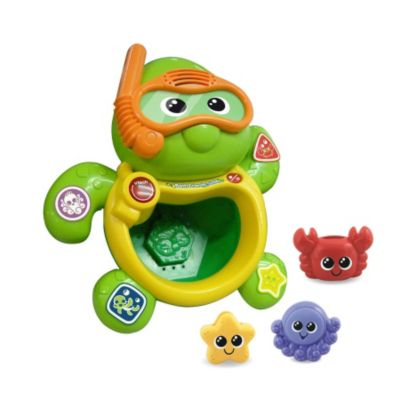 Vtech Bath Friends Turtle 113403 Introduces colours, sea animals and shapes. Pop the animal friend accessories into the turtles belly for fun reactions. Accessories include pouring and squirting features that add to the fun. (Barcode http://www.comparestoreprices.co.uk/childs-toys/vtech-bath-friends-turtle-113403.asp