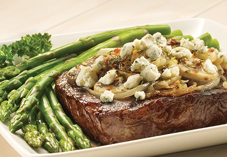 Grilled Ribeye Steak with Mushroom Blue Cheese makes for a hearty, restaurant-worthy meal at home.