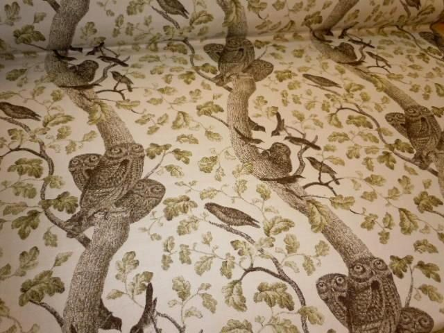 Pattern K Hoot Owl In Color Bark Upholstery Fabric Owls And Birds Tree Limbs Browns