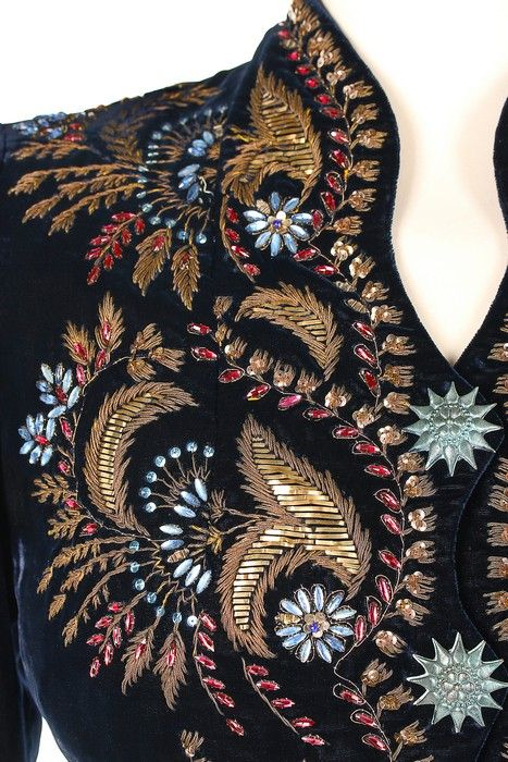 An Elsa Schiaparelli couture embroidered midnight-blue velvet evening jacket, Autumn-Winter, 1937-38