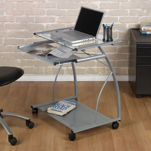 Calico Designs L Computer Cart - Silver/Clear Glass Item # HN-MEI270  Tempered…