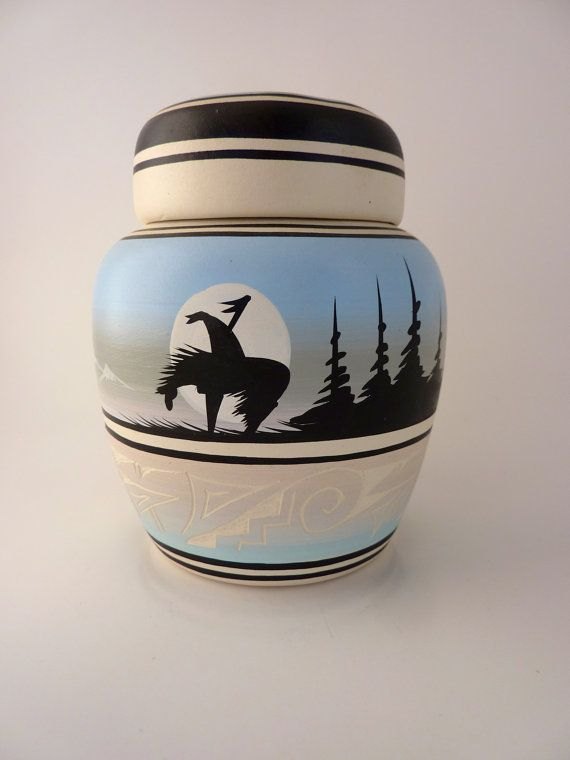 Navajo Native American Pottery Ginger Jar Signed Black Horse    Native American Ginger Jar bisque pot with painted and incised designs on