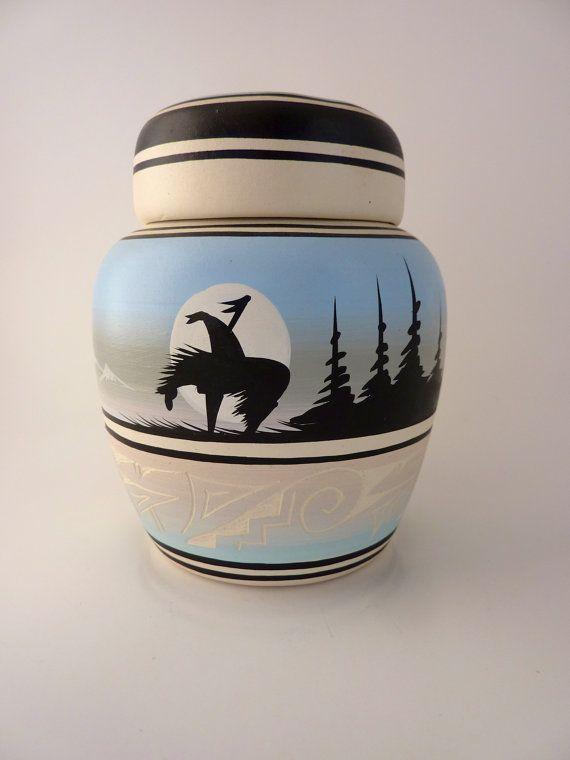 Navajo Native American Pottery Signed Black Horse