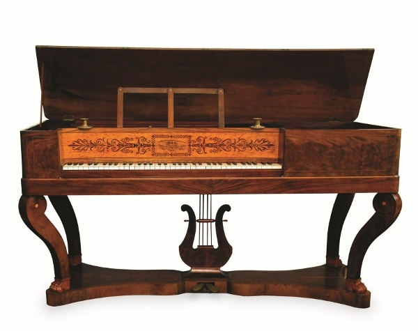 Joshua Done (c1796) A square piano in a mahogany crossbanded and chevron strung case raised on a tray base and square tapered legs united by an undertier, the fascia board inscribed 'Chancery Lane' and dated 1796.