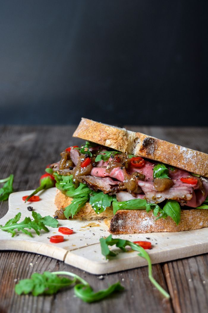 Spicy Roast Beef and Rhubarb Chutney Sandwich