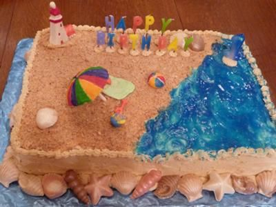 Noah's choice for a birthday cake.....except make a lifeguard stand instead of a lighthouse and add a chocolate rock jetty.