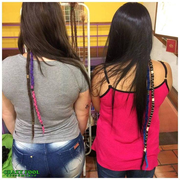 Marina e Brenda de Canoas/RS e seus primeiros dreads com alongamentos naturais e os coloridos sintéticos