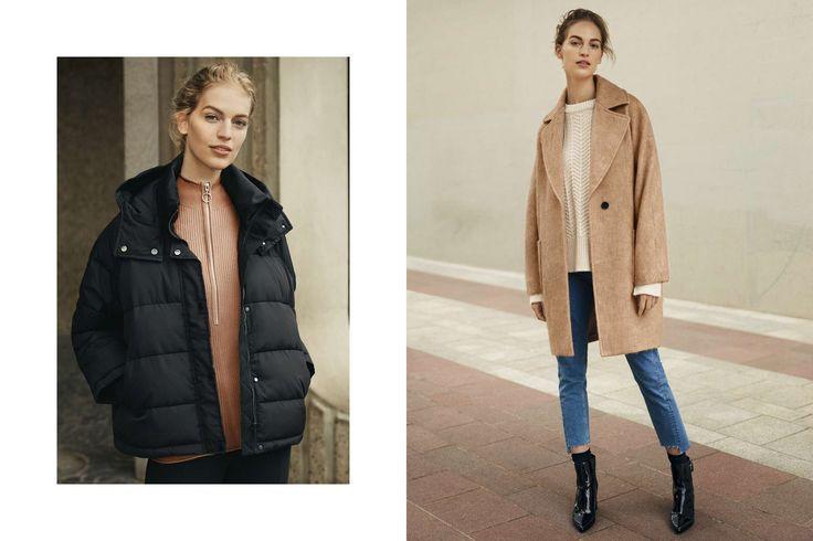 Die neue Wintermode für Damen ist da: Grobstrick, Bleistiftröcke, Jeans, Mäntel, Karohemden, Hoodies, schwarze Kleider, Stiefel und Accessoires.