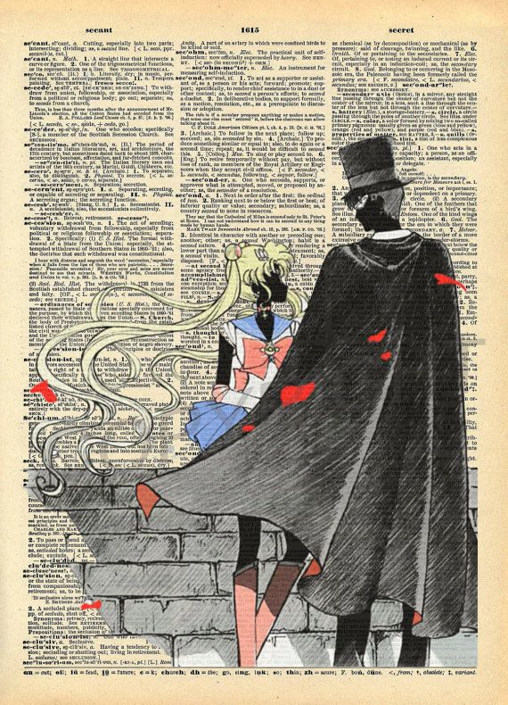Sailor Moon and Tuxedo Mask Dictionary Art Print (10.00 USD) by AmourPrints