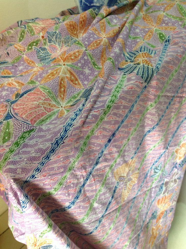 handdrawn coastal batik (3meters long) from Alvienalfan batik, Pekalongan, intricate pretty pattern with purpleish dye
