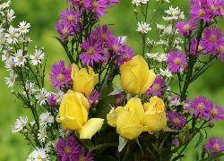 Bukiet, Kwiatów, Żółte, Róże