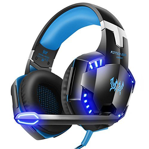Discounted VersionTech G2000 Stereo Gaming Headset for PS4 Xbox One, Bass Over-Ear Headphones with Mic, LED Lights and Volume Control for Laptop, PC, Mac, iPad, Computer, Smartphones, Blue