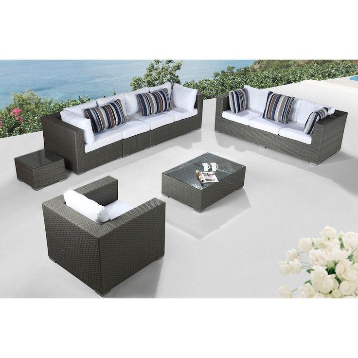 Velago Modern Outdoor Furniture Maxima Wicker Lounge Set (Black), Size  7 Piece Part 59