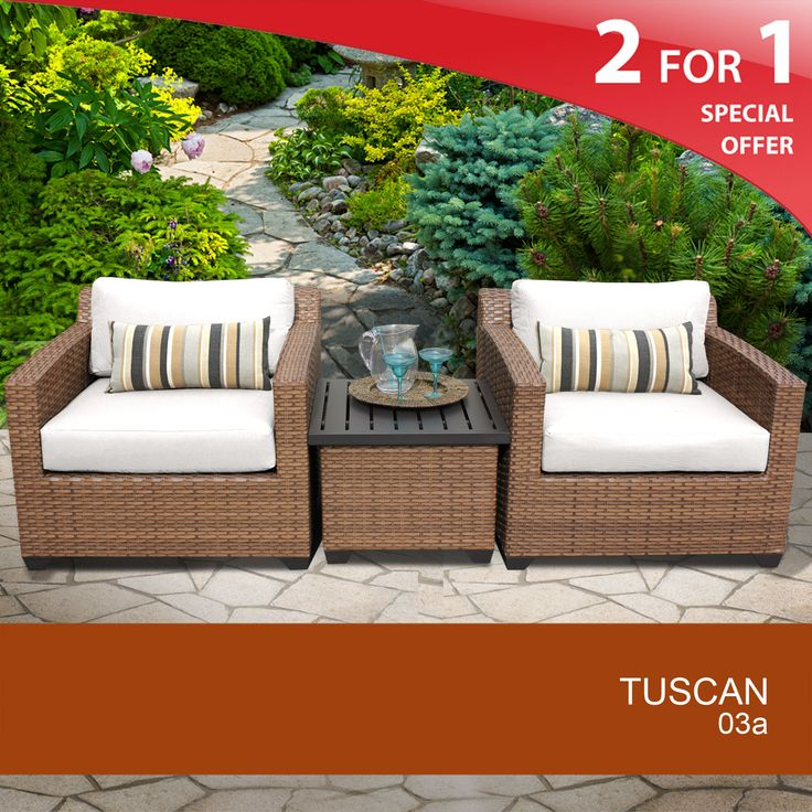 Tuscan 3 Piece Outdoor Wicker Patio Furniture Set 03a 2 For 1