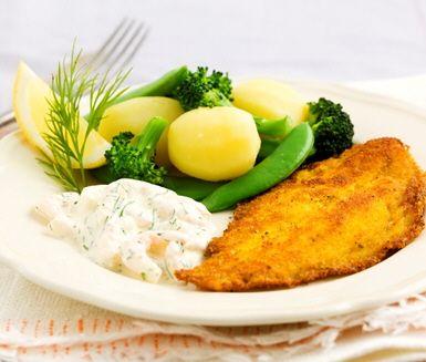 Recept: Currypanerad rödspätta med krämig räk- och dillröra