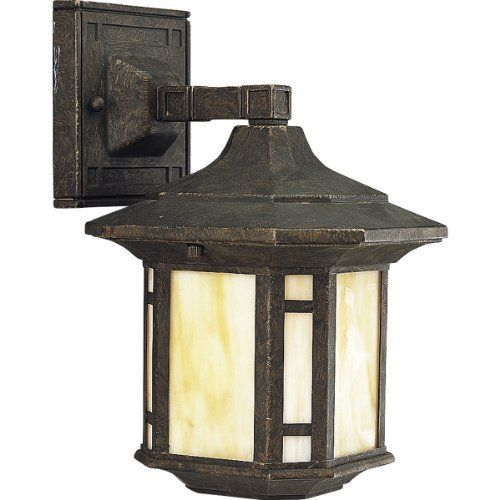 Progress Lighting P5628-46 1-Light Wall Lantern with Honey Art Glass and Mica Accent Panels, Weathered Bronze by Progress Lighting. $59.99. Amazon.com                      Product Description                 Progress Lighting's Arts and Crafts collection offers complementary fixtures to illuminate and beautify any space of the home - including chandeliers, hall & foyer areas, pendants and mini pendants, close to ceiling fixtures, bath & vanity spaces, outdoor spaces and ...