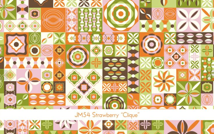 Rare Jenean Morrison BTHY Power Pop PWJM54 Clique Strawberry Westminster Fibers Free Spirit Designer Quilting Sewing Quilt Floral Mod Fabric
