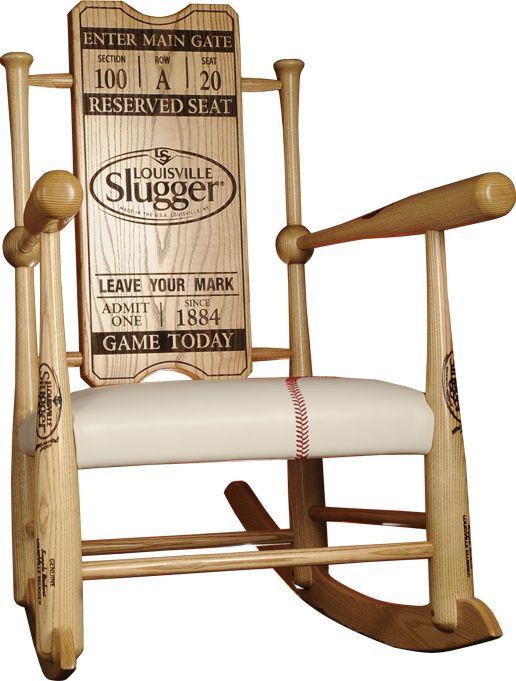 Original Custom Made Genuine Baseball Bat Rocking Chairs | Supple Rockers