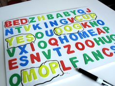 3D Word Search make reading fun with this easy to make dry erase word search.
