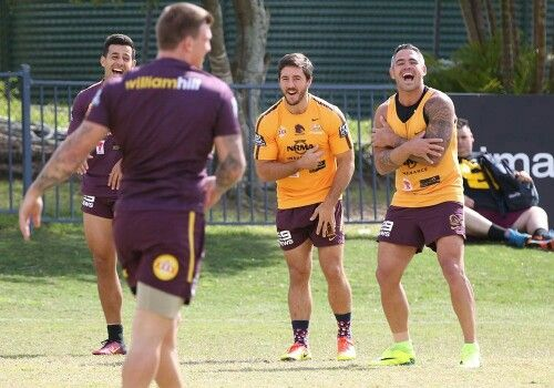 Broncos players laughing at training before getting serious about finals game against titans. 2016.