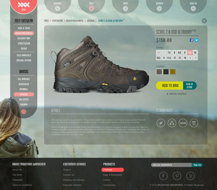 Mountain Wanderer - Product page screen