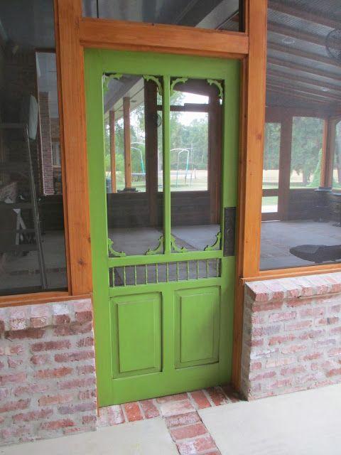 Red River Remodelers- custom screen door- painted with benjamin moore rosemary green