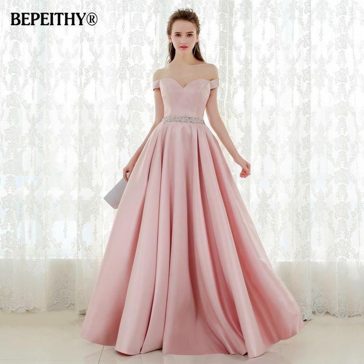 US $78.40 -- AliExpress.com Product - Vestido De Festa A-line Long Evening Dress Vintage Off The Shoulder Prom Dresses Crystal Belt Robe De Soiree 2017