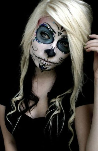 Sugar skull make up - like the blue and sequins