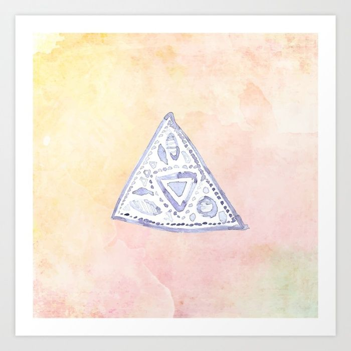 'Watercolor Triangle Symbol' by Yaansoon Illustration on Society6 | This illustration is inspired by the artist's passion for her grandmother's crochet | Vintage, Pattern, Feminine, Symbolism, Minimalist, Minimalism, Mandala, Pink, Watercolour @society6