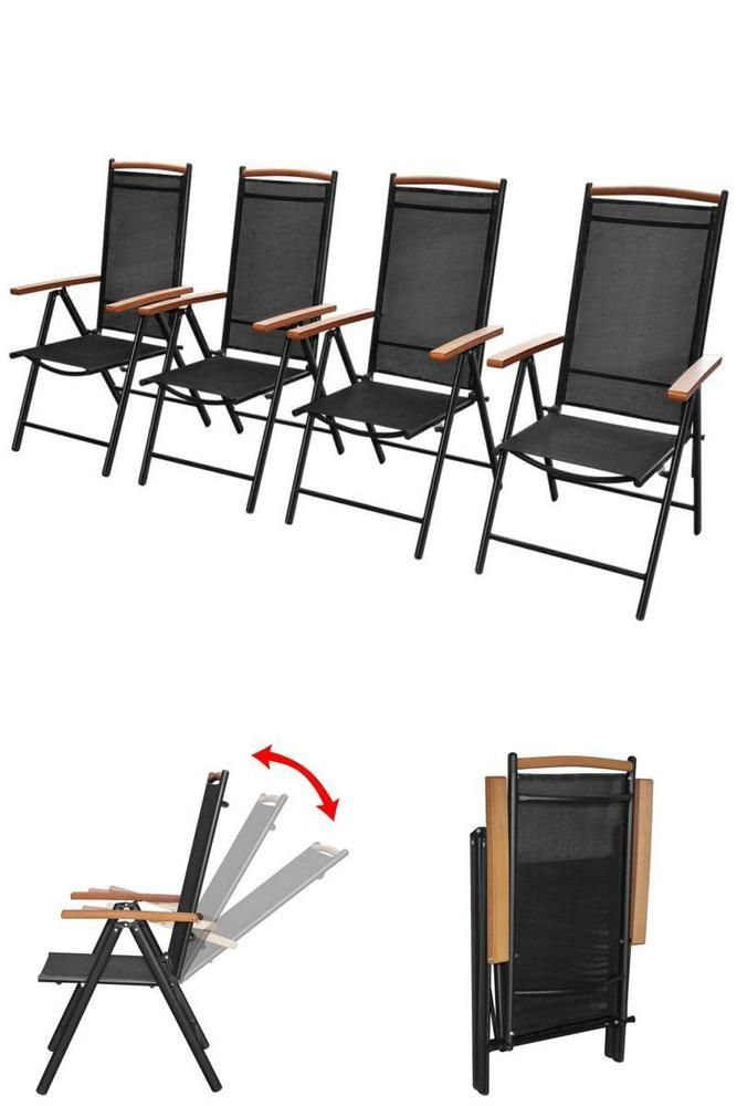Recliner Metal Patio Chairs 4Pc Outdoor Garden Folding Seats Camping Paty Guest