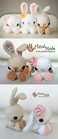 Зайчик (кролик) - амигуруми крючком.