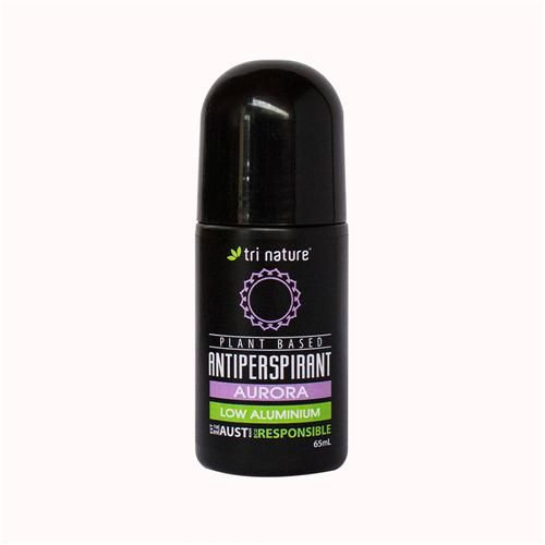 Aurora Antiperspirant Roll-on. Gentle. Feminine. Plant based, with essential oil scent. Low Aluminium (9%) and flakes larger than pores to prevent absorption. $8.95.