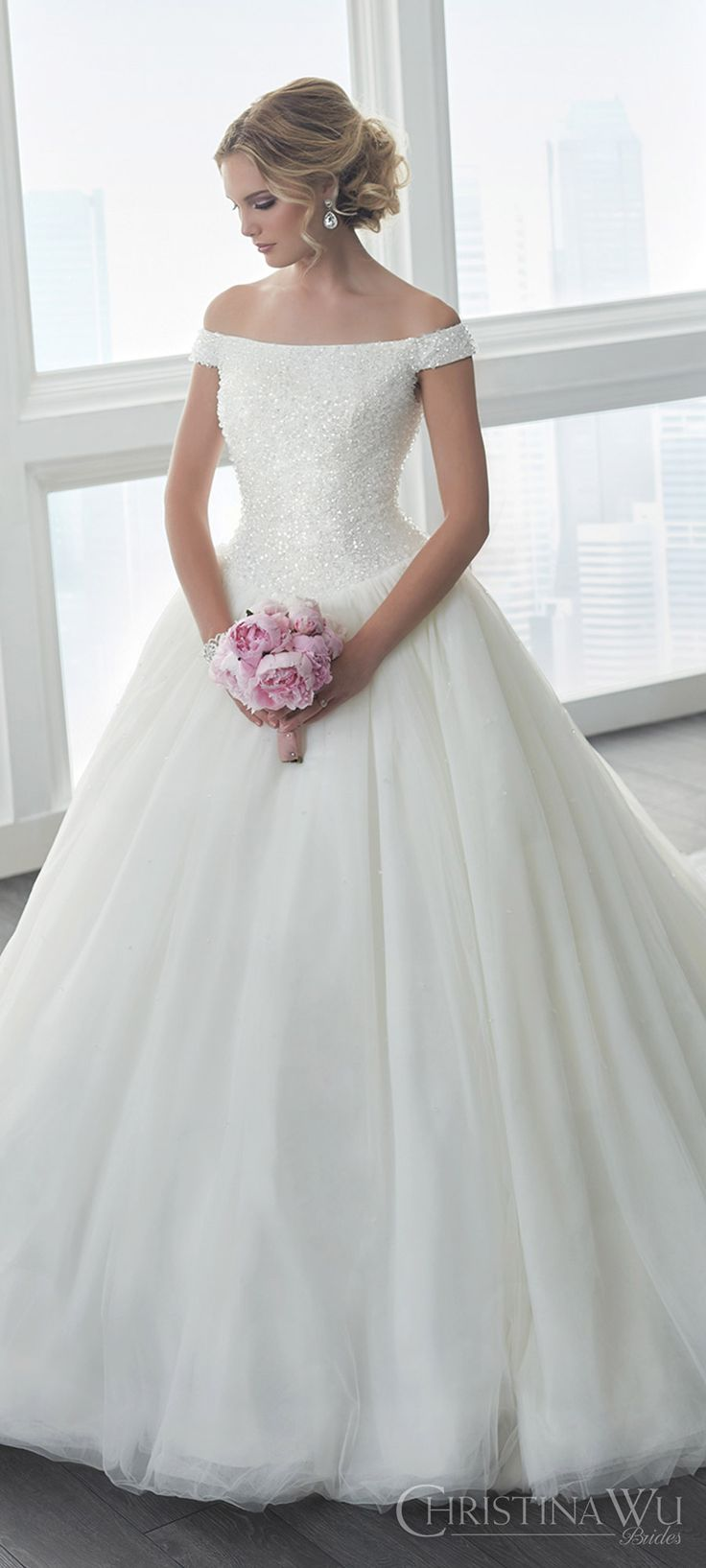christina wu brides spring 2017 bridal off shoulder heavily beaded bodice ball gown wedding dress (15633) zfv romantic princess long train #bridal #wedding