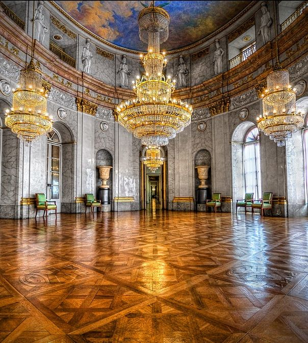 "Marble Hall, Ludwigsburg Palace, Ludwigsburg, Germany-If you stand directly under the chandelier and clap you can hear the birds painted on the ceiling ""flying away"""
