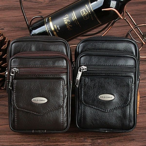 Genuine vintage Leather wallet Bag Waist Pouch backpack cellphone Purse Coin men
