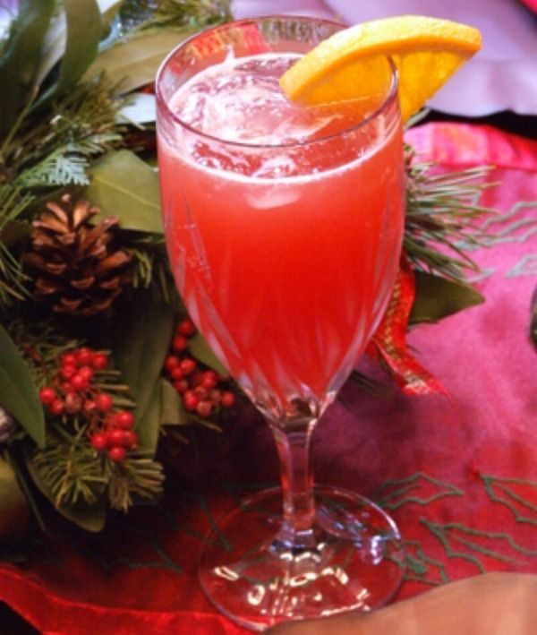 Christmas Mimosas - 12 Servings- 4 cups cranberry juice, chilled  4 cups orange juice  2 (750 ml.) bottles Champagne, chilled  12 slices fresh orange, for garnish (optional)  Fill twelve 12-ounce glasses with ice; pour 1/3 cup cranberry juice into each glass. Top each serving with 1/3 cup orange juice and about 1/2 cup Champagne. Garnish with orange slices, if desired.