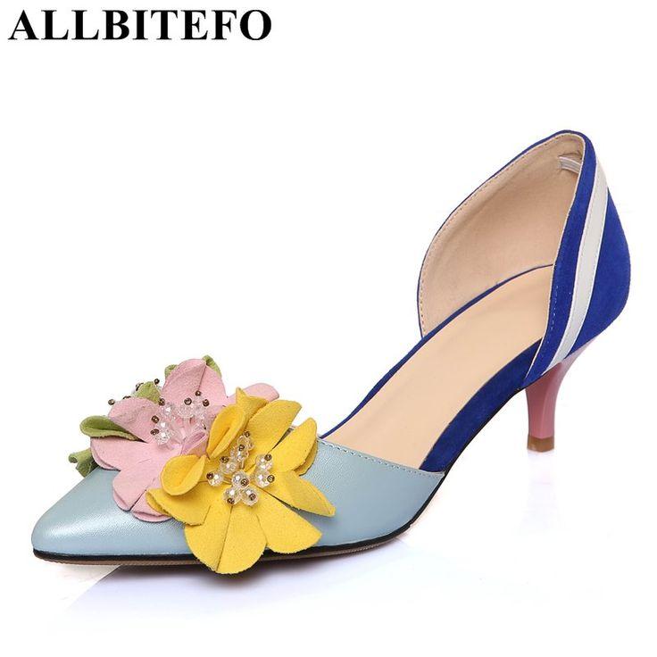 ALLBITEFO моде сладкие цветы натуральной кожи острым носом тонкий каблук свадебная обувь средний каблук летние сандалии женщин сандалии купить на AliExpress