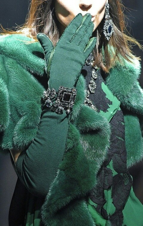 Jewel tones of all colors are huge for the next few upcoming seasons such as this emerald ensemble!