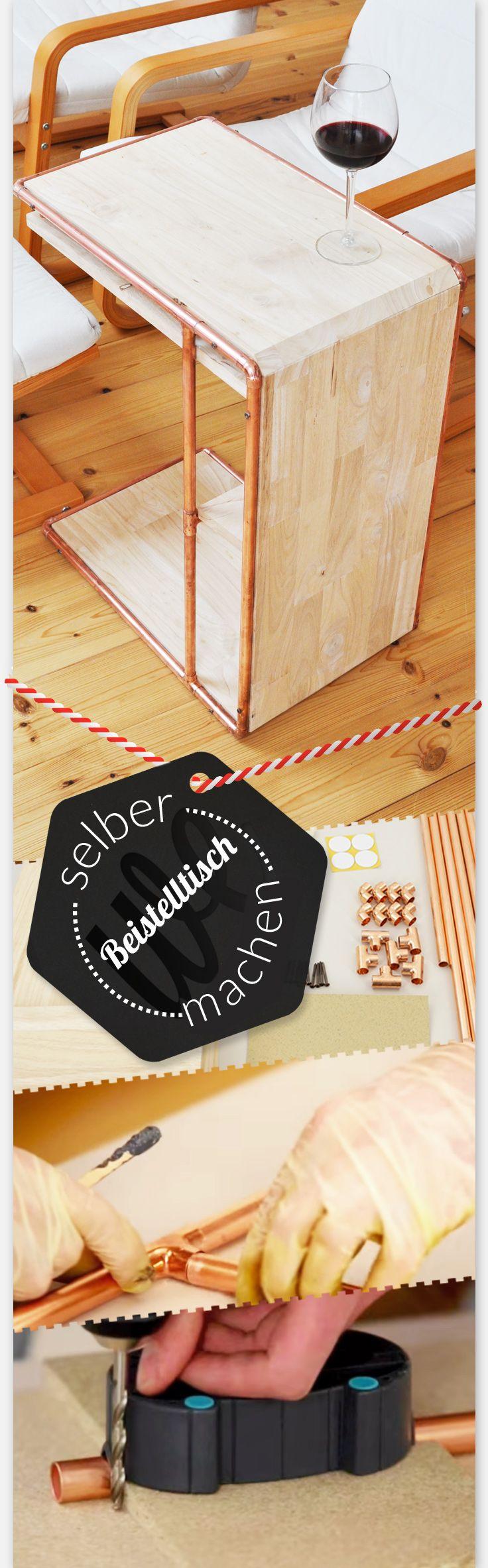 Komplette Bauanleitung für DIY Beistelltisch fürs Wohnzimmer aus Holz und Kupfer. Einfache Anleitung als Videotutorial - alles auf der Homepage von wefactory Berlin.